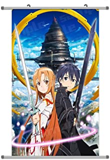 A Wide Variety of SAO Sword Art Online Anime Characters Anime Wall Scroll Hanging Decor (Asuna & Kirito)
