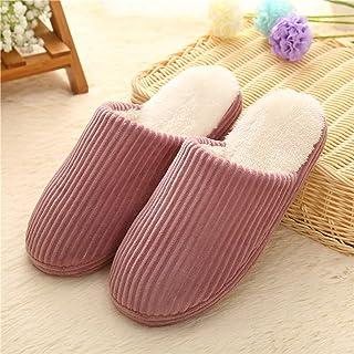 Winter Soft Velvet Soft Bottom Cotton Slippers Men And Women Keep Warm Home Floor Slippers Indoor Thick Bottom Flip Flop,Purple,40/41