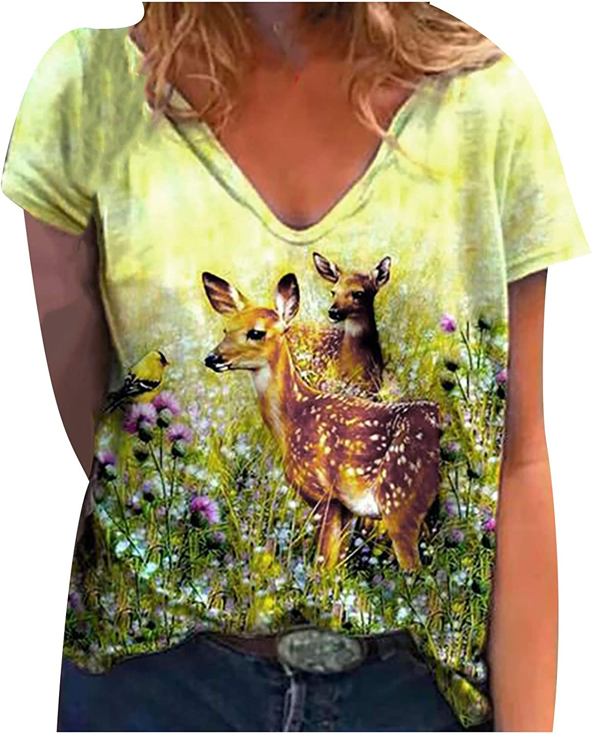 Womens Cute Animal T Shirts Summer Causal Short Sleeve Graphic Tee V-Neck Loose Fit Blouse Tops