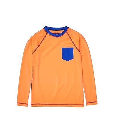 crewcuts by J.Crew Long Sleeve Solid Pocket Rashguard (Toddler/Little Kids/Big Kids) (Neon Orange/Cobalt) Boy