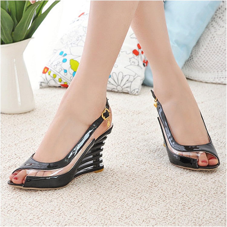 Casual Comfortable Slipsole Peep-toe Sandals Buckle Patent Leather black