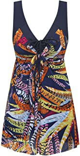 12854fab81130 Wantdo Women's Plus Size Swimdress Flower Printed Swimwear Cover Up  Swimsuits