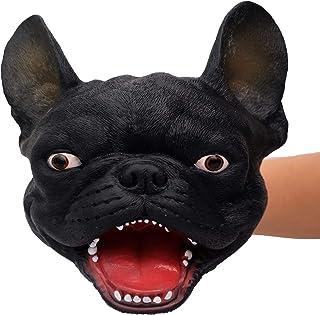1 PC French Bulldog ifkoo Novelty French Bulldog Hand Puppet Soft Realistic Latex Fierce Dog Head Plush Puppet Toy for Kids Adults