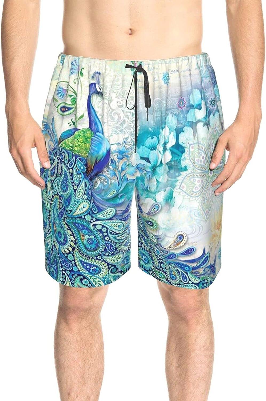 JINJUELS Men's Swim Trunks Watercolor Peacock Bathing Suit Boardshorts Fast Dry Athletic Swimwear Shorts with Lining