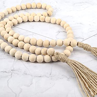 DICOBD 3 Pack Wood Bead Garland Farmhouse Beads with Tassels Rustic Wooden Beads Garland Prayer Beads for Wall Hanging Decor