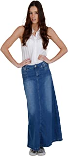 Denim Long Skirt - Stonewash Full Length Maxi Blue Womens Ladies SKIRT35