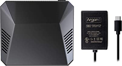 Argon One Mini Computer Case for Raspberry Pi 4 B | Includes 5.25V/3.5A Power Supply | Aluminum Enclosure | Passive and Active Fan Cooling | Power Button | Supports Retro Gaming, Movies, and Music