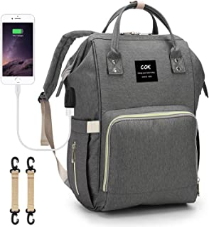 Cok Diaper Bag Backpack, Large Waterproof Baby Nappy Bag with USB Port Gray