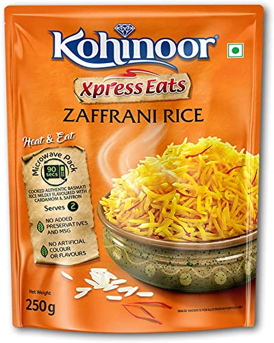 Kohinoor Xpress Eats Ready to Eat Zaffrani Rice 250g Microwave Pack