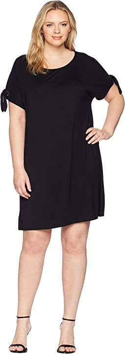 Plus Size Short Sleeve Dress w/ Tie Sleeve