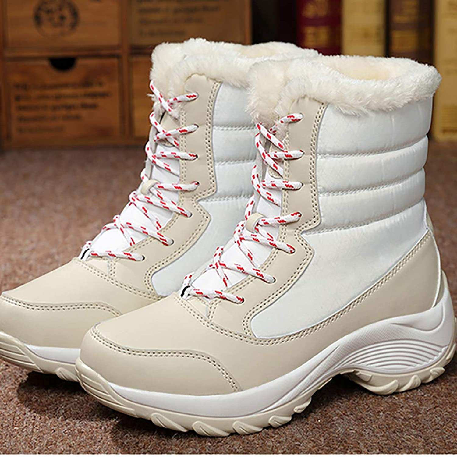 Snow Boots Couple Men and Women with Winter shoes, Warm Large Size Snow shoes, Black Warm Women's Tube,White,38