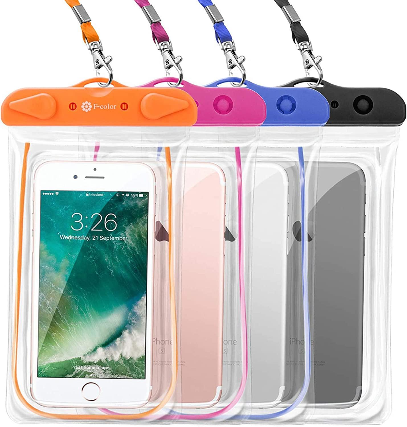 Waterproof Case, 4 Pack F-color Floating Clear Waterproof Phone Pouch TPU Dry Case Compatible for iPhone 12 Pro Max, 11, Galaxy S9+, S10, Google Pixel and More, Blue Black Orange Pink