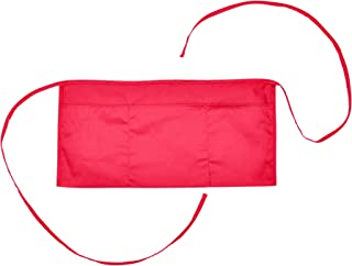 DALIX Waist Aprons Commercial Restaurant Home Bib Spun Poly Cotton Kitchen (3 Pockets) in Red