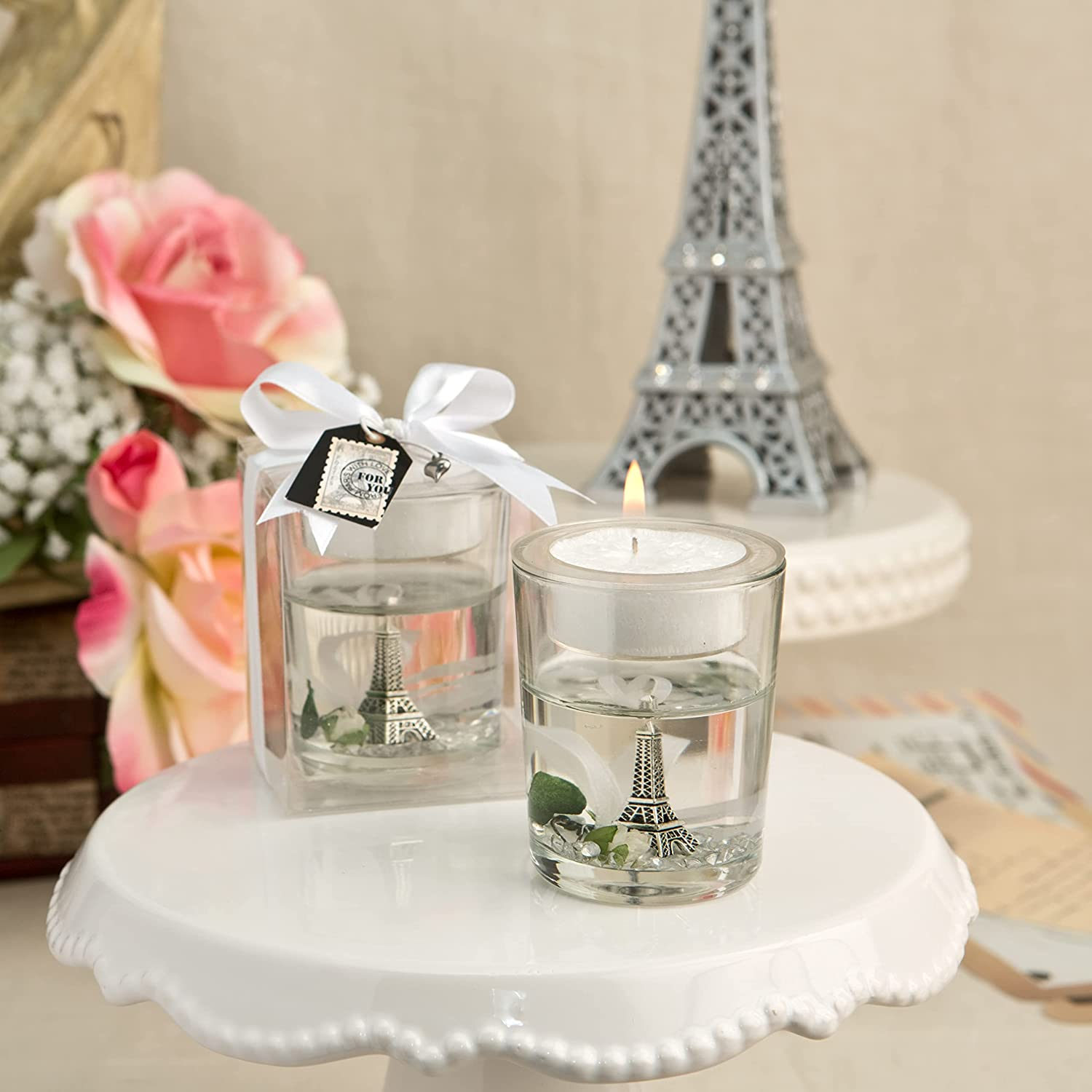 FASHIONCRAFT Eiffel Tower Gel Candle Super sale with White Holder Product and Rose
