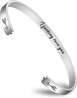 BFJLIFE Inspirational Cuff Bangle Bracelets for Women Girls Stainless Steel Jewelry