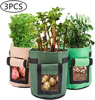 Lehood 3 Pack 5 Gallon Grow Bags Durable Plant Growing Bags Portable Potato Grow Bags with Handles for Grow Multi-Species Vegetables Carrot