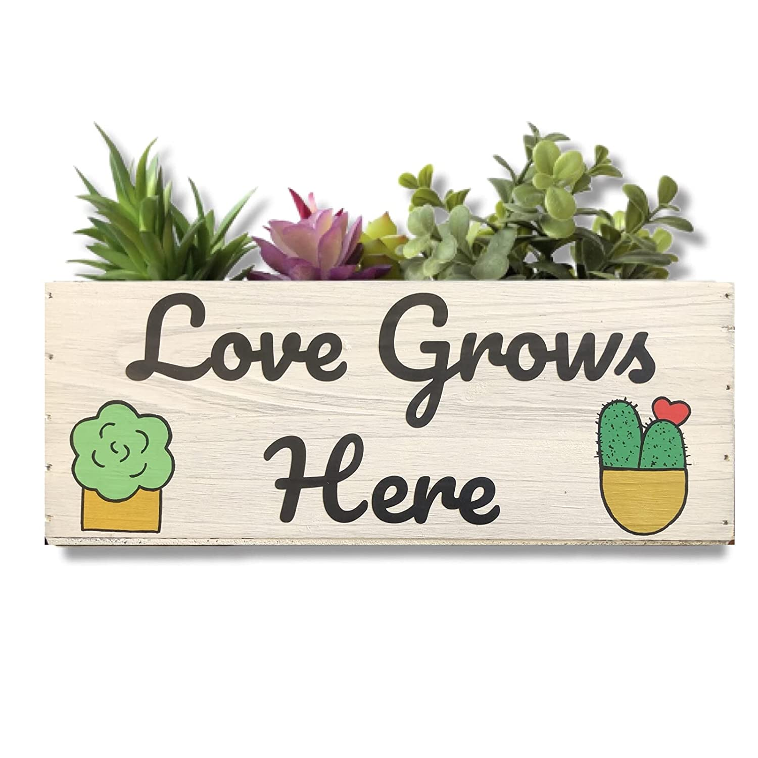 Manufacturer direct delivery Love Grows Here Planter 10x4 Succulent Rustic Box Garden Wood Ranking TOP19