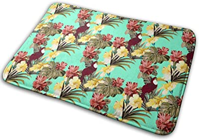 Bright Colorful Jungle Pattern with Tropical Plants and Birds Carpet Non-Slip Welcome Front Doormat Entryway Carpet Washable Outdoor Indoor Mat Room Rug 15.7 X 23.6 inch