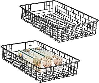 mDesign Wide Wire Storage Basket for Kitchen, Pantry, Cabinet - Pack of 2, Matte Black ?