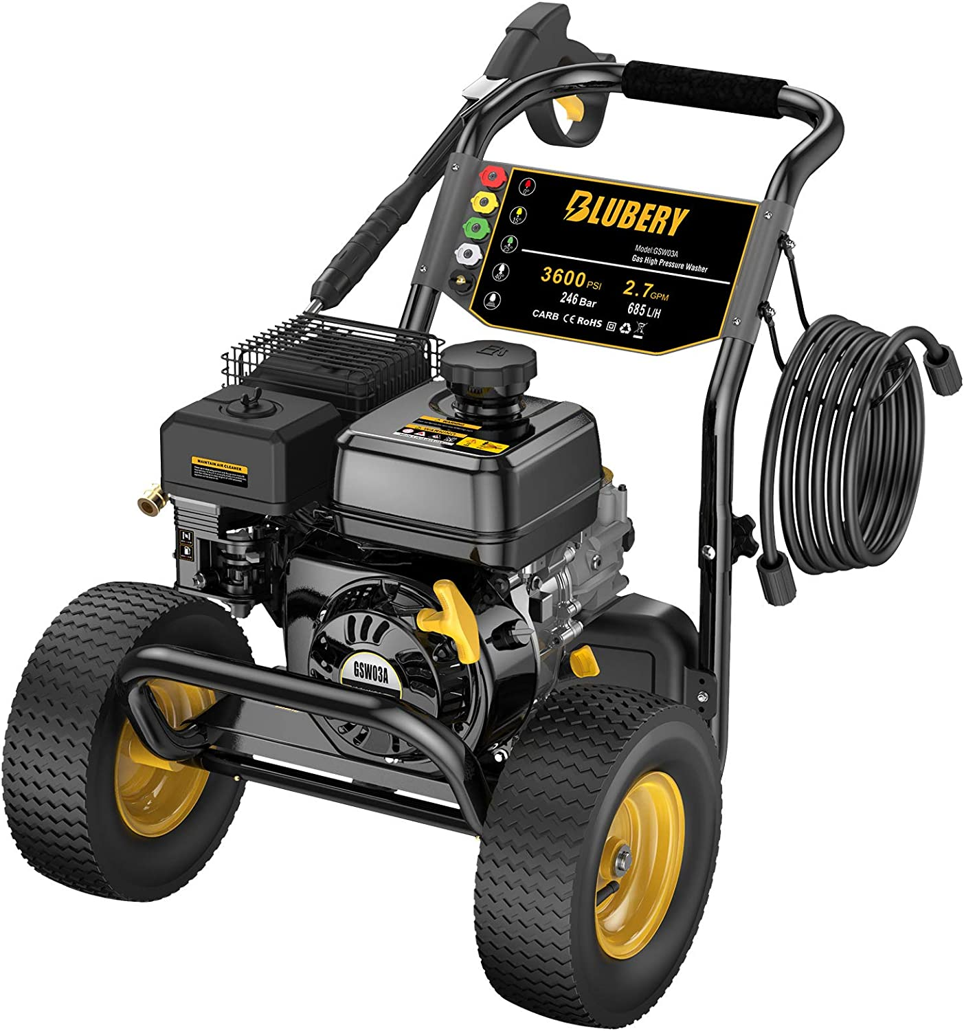 Blueberry 3600 PSI security 2.7 GPM Gas Pressure Adjustable Washer Max 41% OFF 5 No