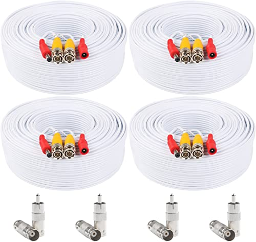 Postta BNC Video Power Cable (4 Pack 200 Feet) Pre-Made All-in-One Video Security Camera Cable Wire with Eight Connec...