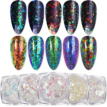 BORN PRETTY 0.2g Holographic Powder Confetti Chameleon Cloud Paillette Irregular Nail Art Glitter Sequins flakies 5 Colors