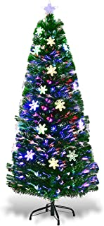 Goplus Pre-Lit Fiber Optic Artificial Christmas Tree, with Multicolor Led Lights and Snowflakes (5 FT)