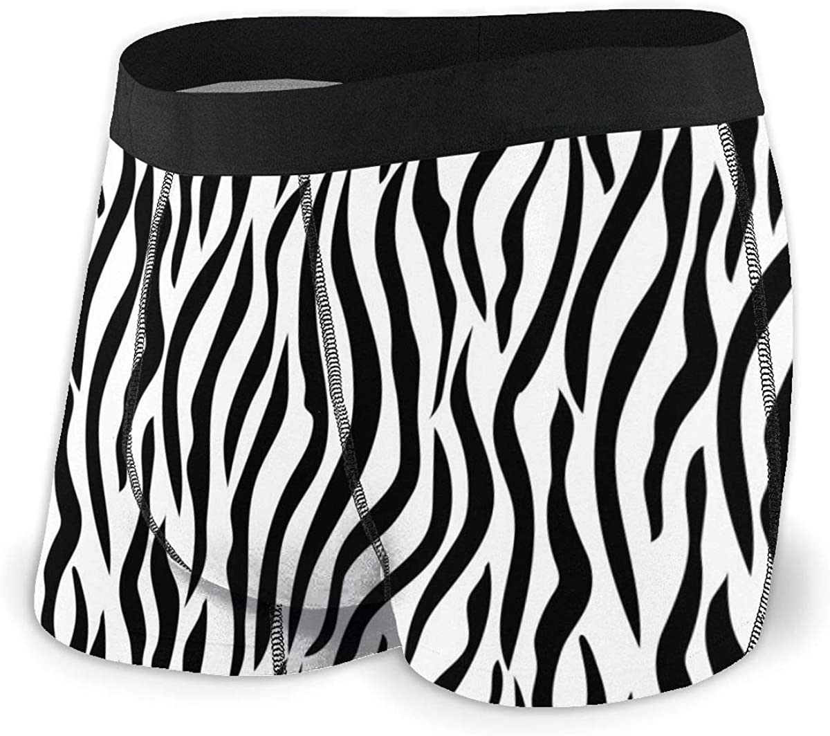 Mens Boxer Briefs Zebra Skin Stripe Pattern Animal Print Breathable Underwear
