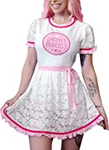 Littleforbig Adult Baby Diaper Lover ABDL Button Crotch Romper Onesie - Daddy's Princess Lacy Dress