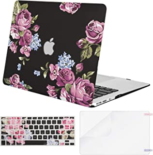 MOSISO Plastic Pattern Hard Shell Case & Keyboard Cover & Screen Protector Compatible with MacBook Air 11 inch (Models: A1370 & A1465), Peony