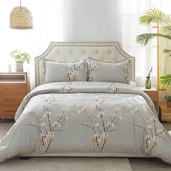 Bedsure 100 Cotton Duvet Cover Set Full Queen Size 90x90 Inches Plum Blossom Pattern 3 Pieces 1 Duvet Cover 2 Pillow Shams Duvet Covers With Zipper Closure Corner Ties