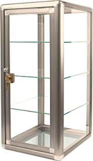 """Table Top Display Show Case. Bronze anodized aluminum frame and tempered glass construction. Key lock with three shelves. Measures 14"""" wide by 12"""" deep and 27"""" tall."""