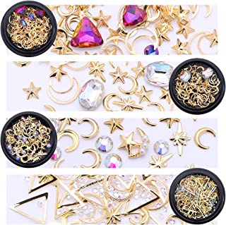 NICOLE DIARY Gold Nail Studs Gems Sparkle Rhinestones Metal Rivets Charms Hollow Moon Star Shaped Artificial Pearls DIY 3D Nail Art Decoration(4 Boxes)