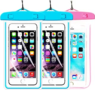 [2Pack Blue+1Pack Pink] Universal Waterproof Phone Case Dry Bag CaseHQ for iPhone 8,8plus,7,7 plus,4/5/6/6s/6plus/6splus Samsung Galaxy s3/s4/s5/s6,s7, s8, s8plus etc.Pouch for Phone up to 5.8 inches