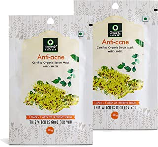 Organic Harvest Anti-Acne Face Sheet Mask, Helps in Treating Acne, Sulphate Free- 20gm (Pack of 2)