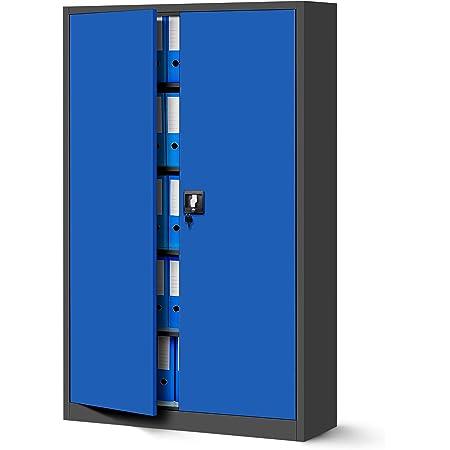 Jan Nowak by Domator24 Armoire de Bureau Métallique C001II 4 Etagères Tôle d'acier Portes Battantes Verrouillable 185 cm x 115 cm x 40 cm (Anthracite/Bleu)