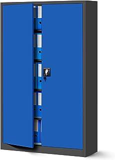 Jan Nowak by Domator24 Armoire de Bureau Métallique C001II 4 Etagères Tôle d'acier Portes Battantes Verrouillable 185 cm x...