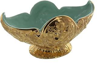 Vintage Weeping 24 Kt Gold Encrusted Green Pottery Pedestal Bowl, Stamped USA
