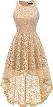 MEETJEN Women's Vintage Bridesmaid Floral Lace Dress Cocktail Hi-Lo Prom Swing Party Prom Dress