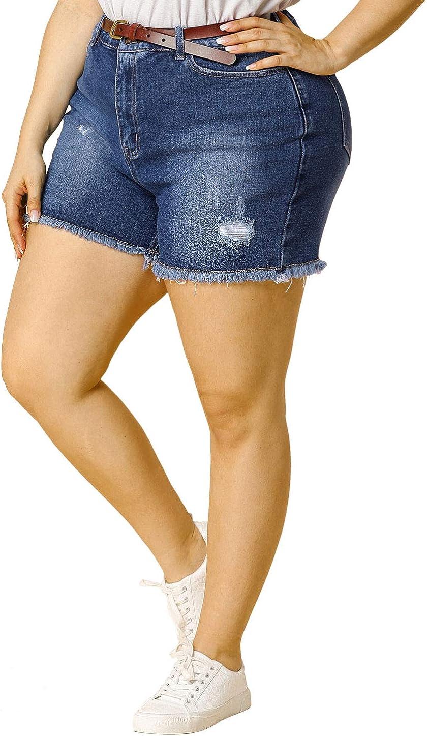 Agnes Orinda Women's Plus Size Jean Shorts Raw Hem Stretched Summer Distressed Denim Shorts