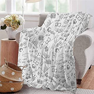 SONGDAYONE Stylish Blanket Money Suitable for Every Season Monochrome Pattern with Euro Dollar Yen Symbols Coins Piggy Bank Stock Graphs Doodle W54 x L72 Black White