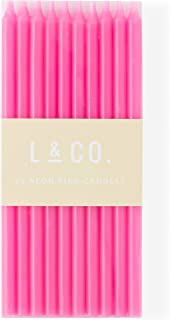 l&co 20 Count Tall Skinny Neon Pink Birthday Cake Candles for Birthday Wedding Party Cakes Decorations