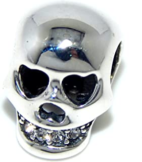 Solid 925 Sterling Silver Skull with Clear Cubic Zirconia Teeth Charm Bead 423 for European Snake Chain Bracelets