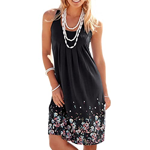09f057405961c HUSKARY Womens Summer Casual Tank Sleeveless Printed Vest Dresses