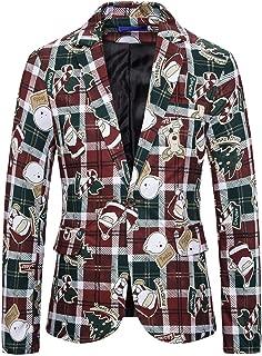 iZHH Mens Plaid Blazer Christmas Evening Party Button up Suit Jacket Coat Tops