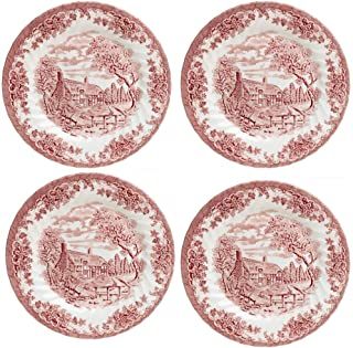 Churchill Brook Pink Floral Scalloped Ceramic Dinner Plates, Set of 4