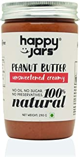 Happy Jars 100% Natural Unsweetened Creamy Peanut Butter | Smooth Consistency | Have it on Toast or Fruits | Gluten-Free | Vegan | No Oil | No Sugar | No Preservatives | No Cholesterol