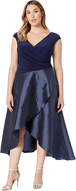Plus Size Draped Jersey and Taffeta Dress