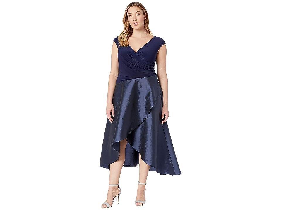 Adrianna Papell Plus Size Draped Jersey and Taffeta Dress (Navy) Women