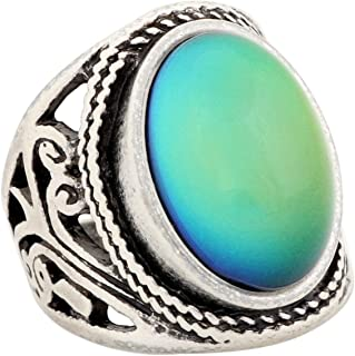 MOJO JEWELRY Mood Ring Changing Color for Adults Antique Sterling Silver Plating Vintage Statement Rings Women RS019